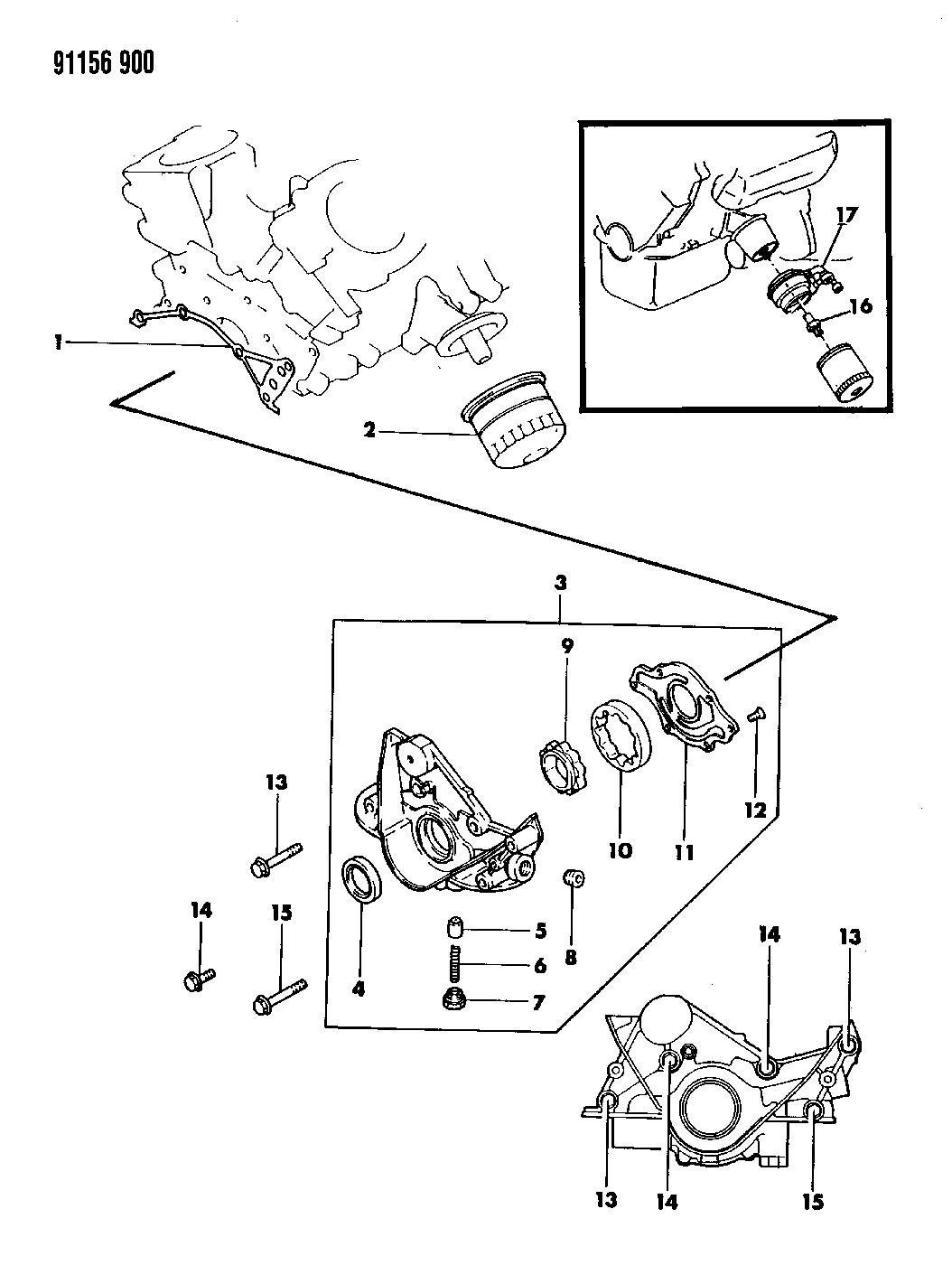 1991 dodge grand caravan oil pump & oil filter  1991 dodge grand caravan engine diagram #45