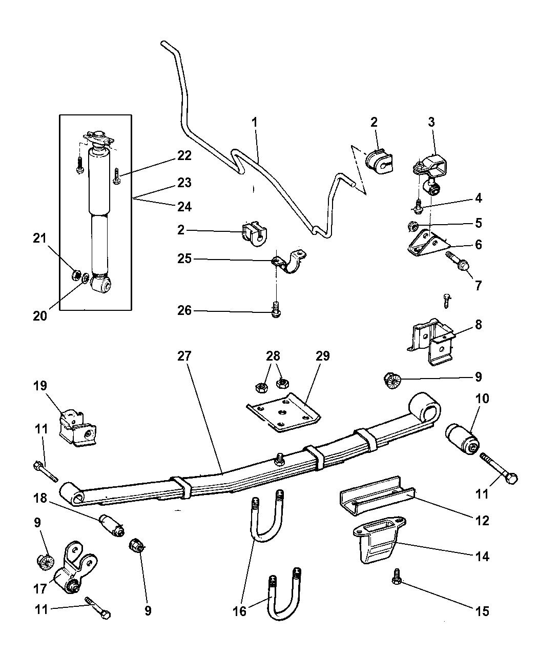 1999 jeep cherokee suspension - rear & shock absorber