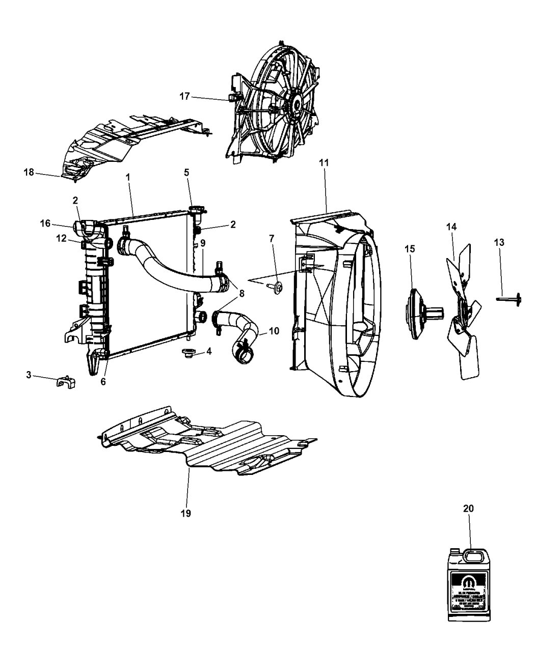 T Front Mopar 55057087AA Radiator Cooling Unit-VIN