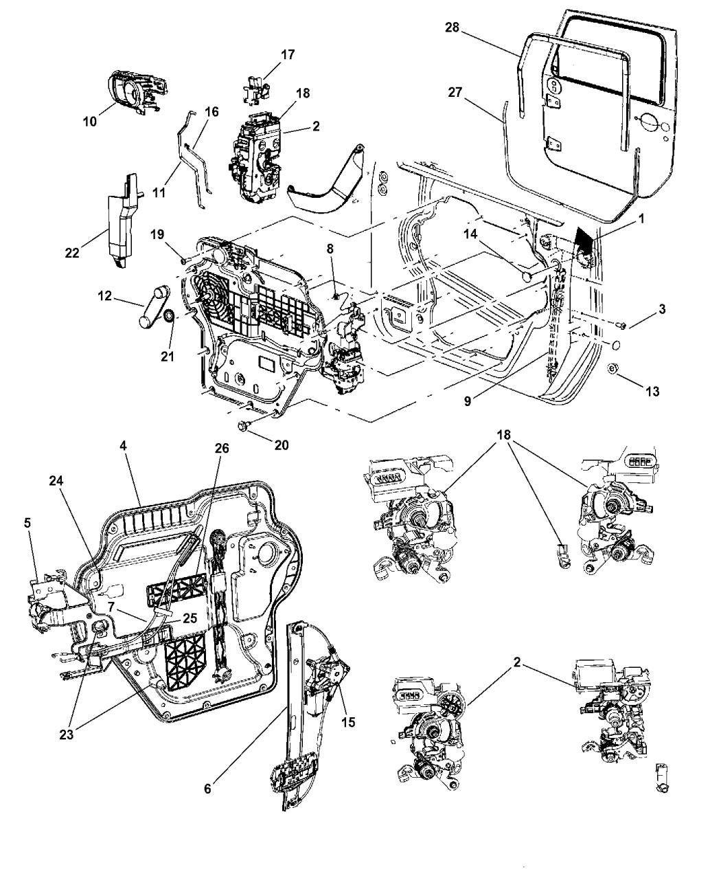 2014 Jeep Wrangler Front Door Hardware Components