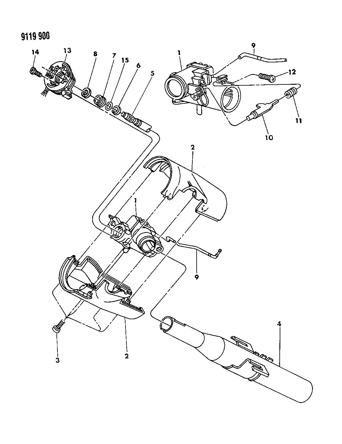 1989 Chrysler LeBaron GTC Column, Steering Upper Floor Shift Without Tilt