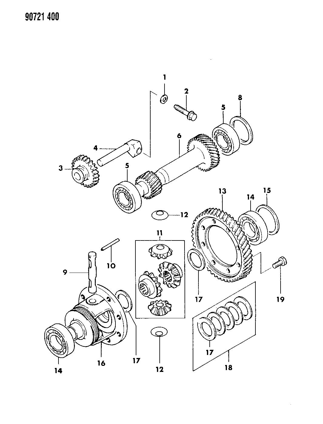 1990 Dodge Colt Gears & Output Shaft