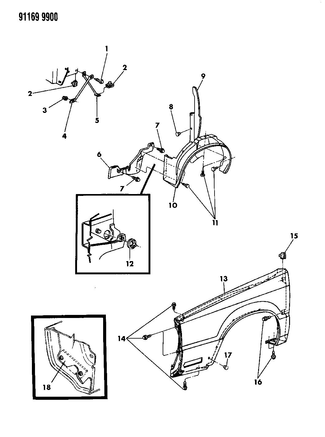 1991 Chrysler New Yorker Salon Fender Shield Fuse Box