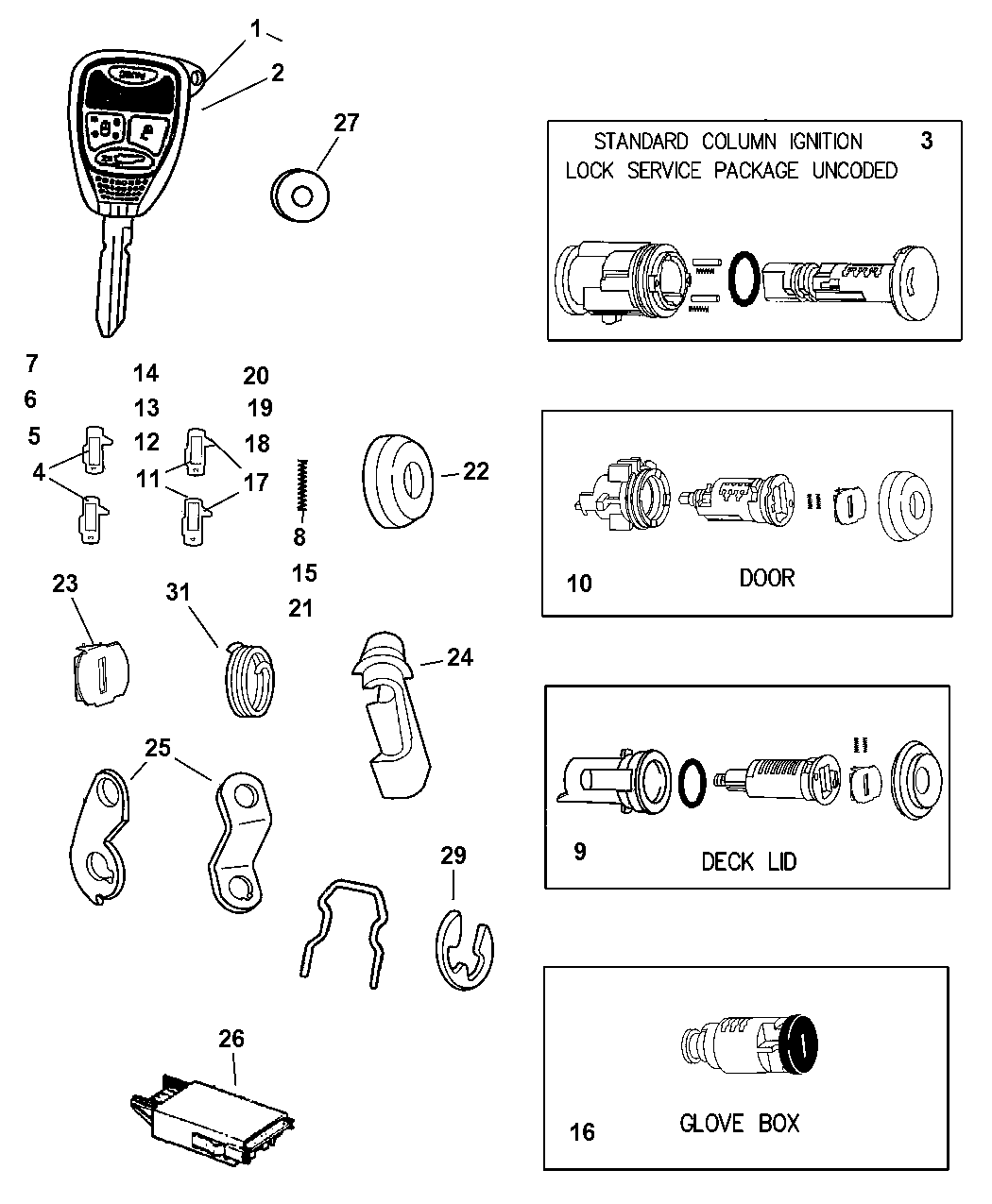 diagram of chrysler lock cyl 5139099aa - genuine mopar cylinder-door lock #2
