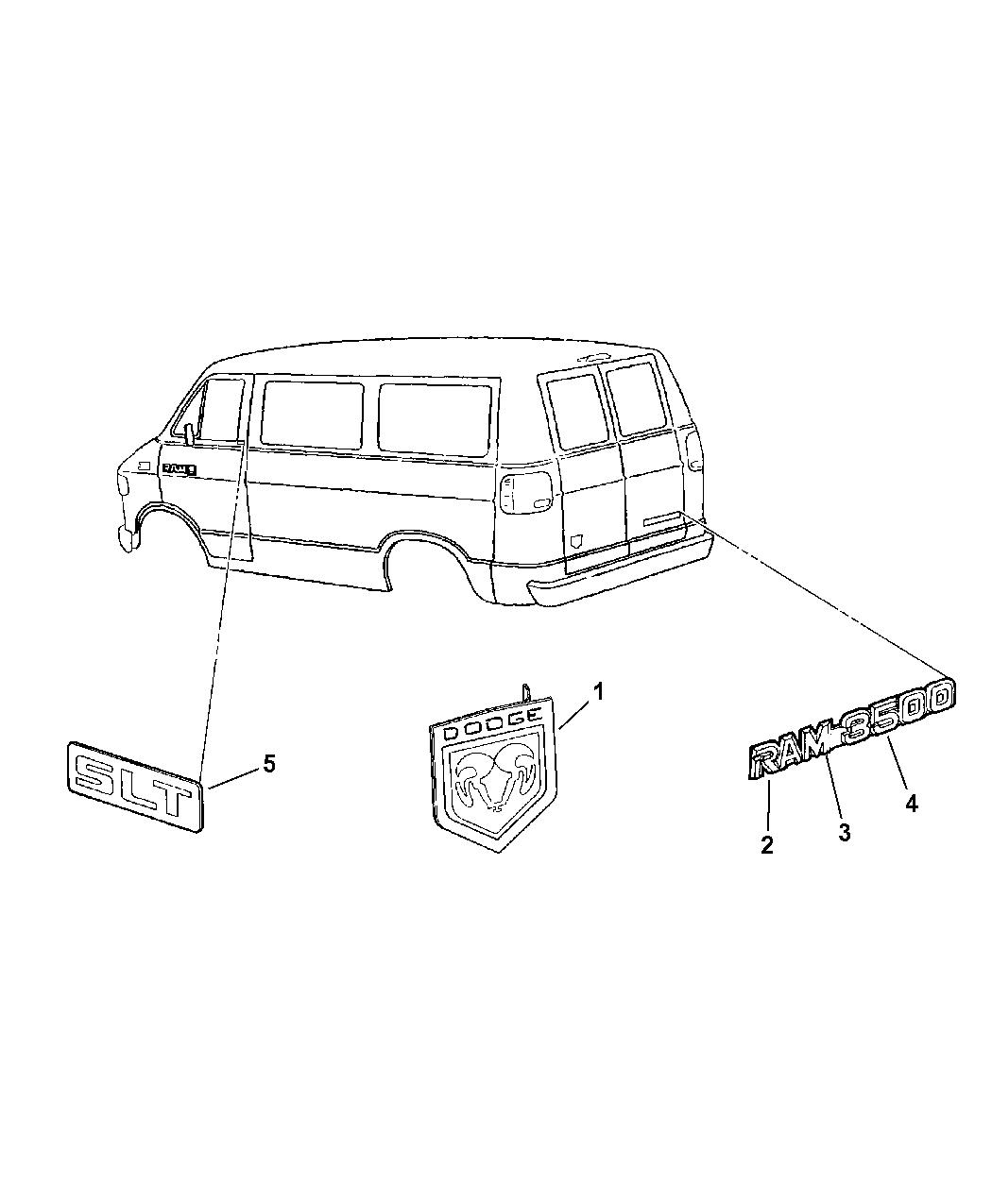 1999 Dodge Ram Van Nameplates & Decals - Mopar Parts Giant