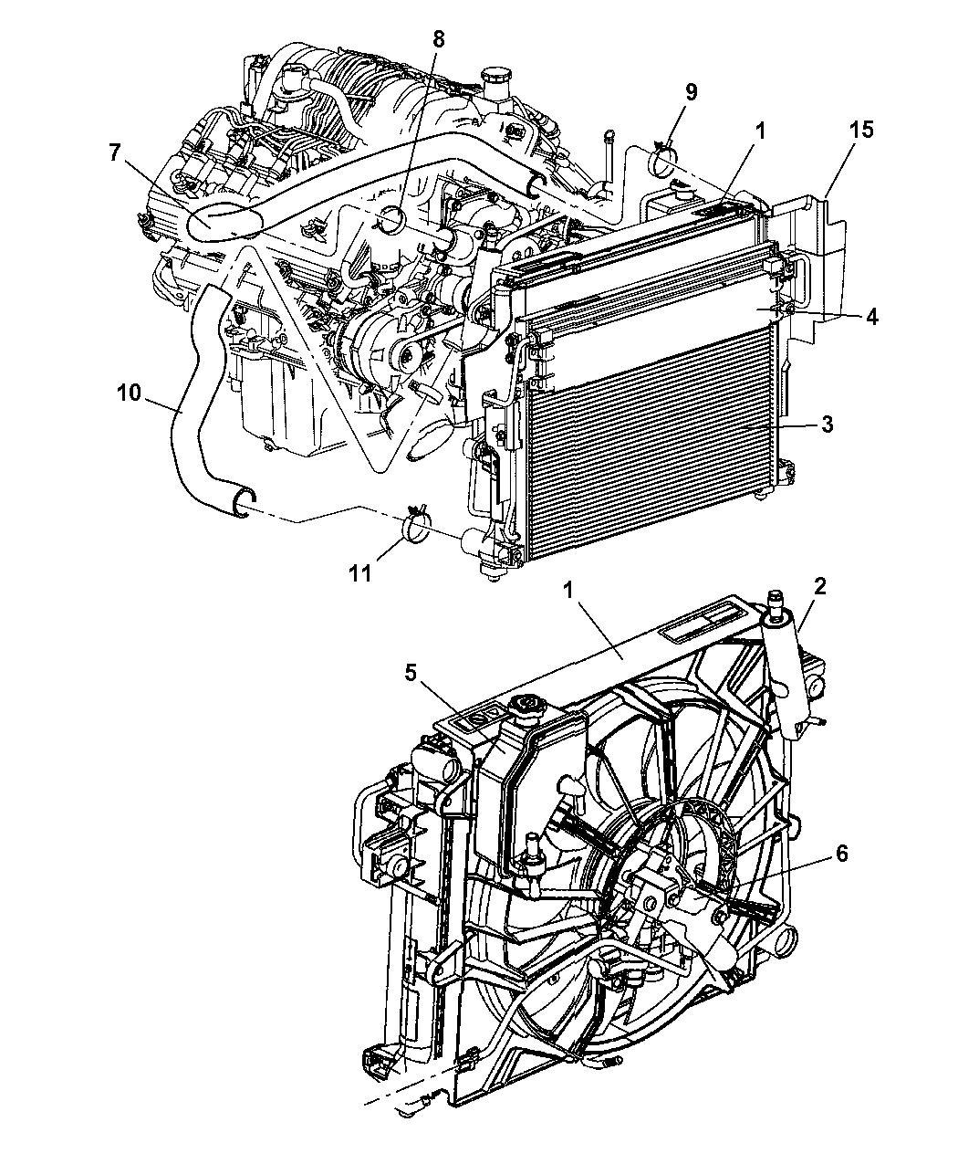 2005 jeep grand cherokee radiator & related parts