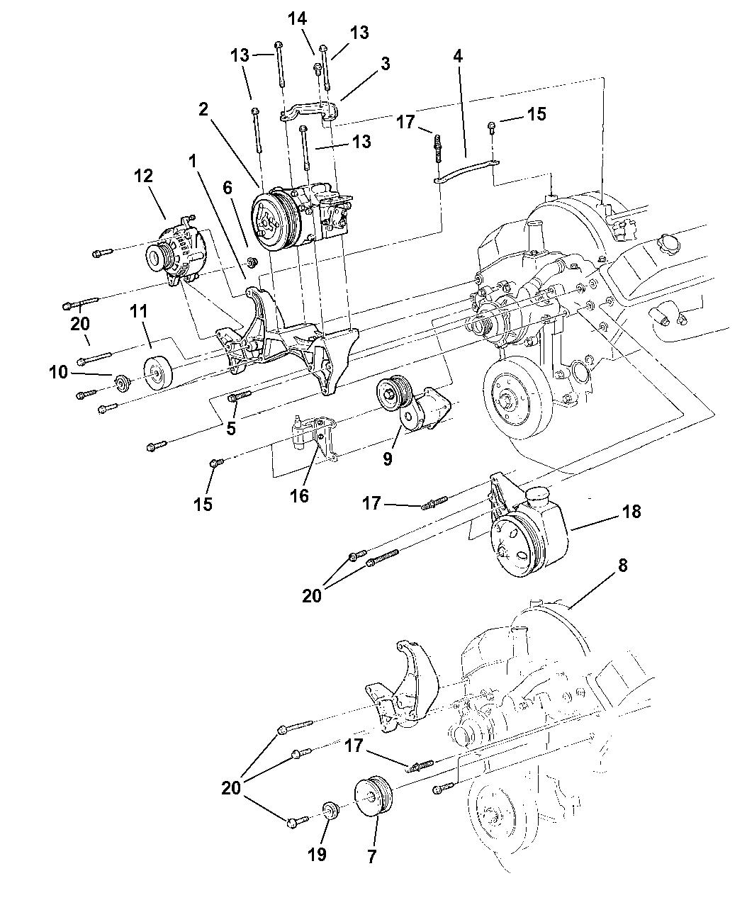 1999 Dodge Durango Alternator & Mounting