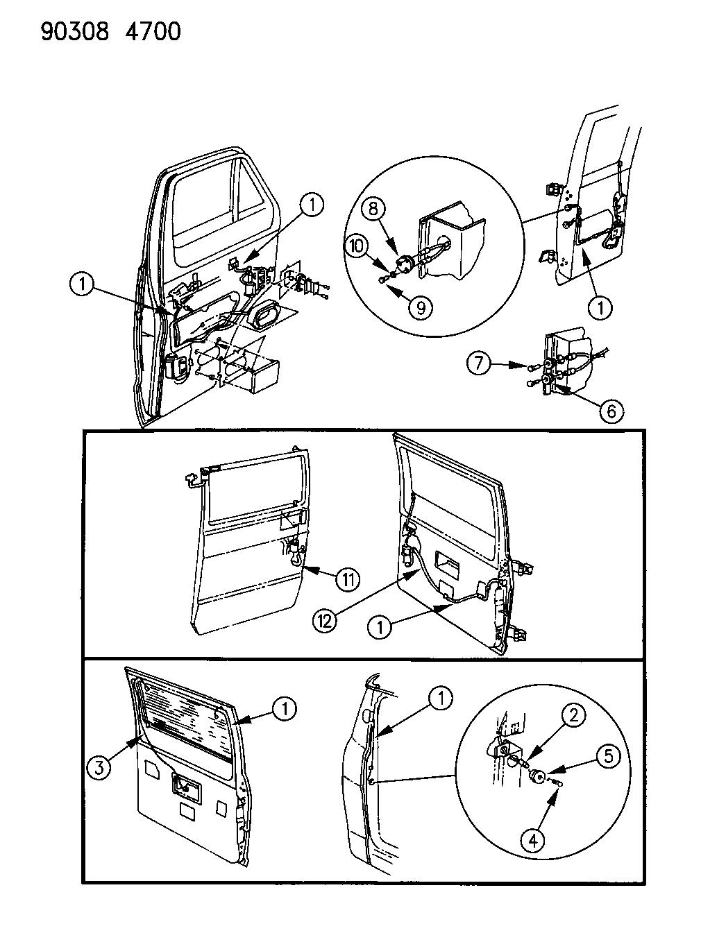 1990 Dodge Ram Van Wiring - Door