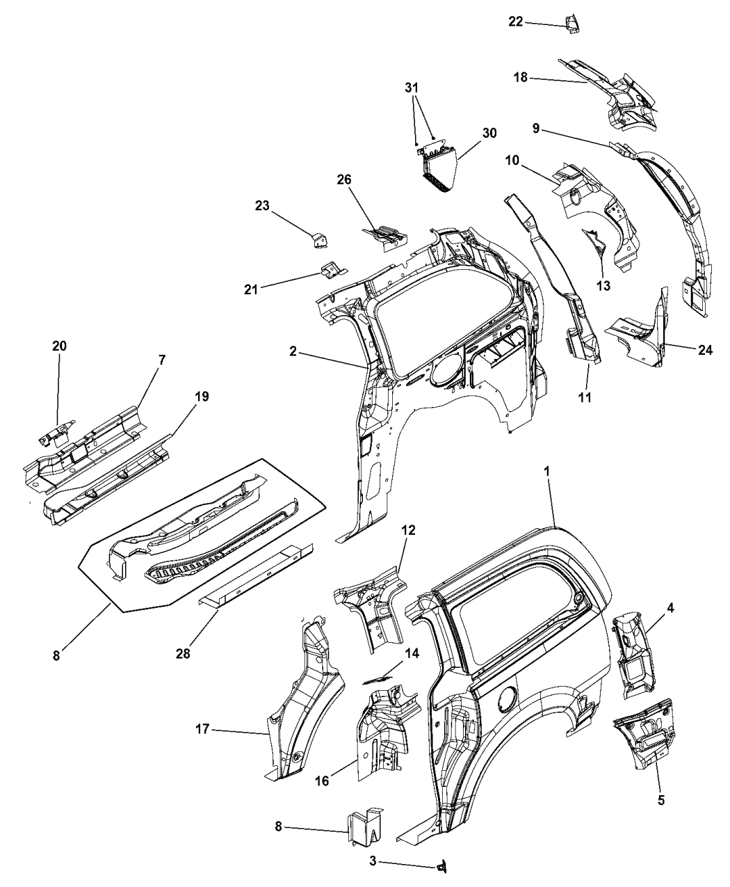 Genuine Dodge CLIP-FASCIA