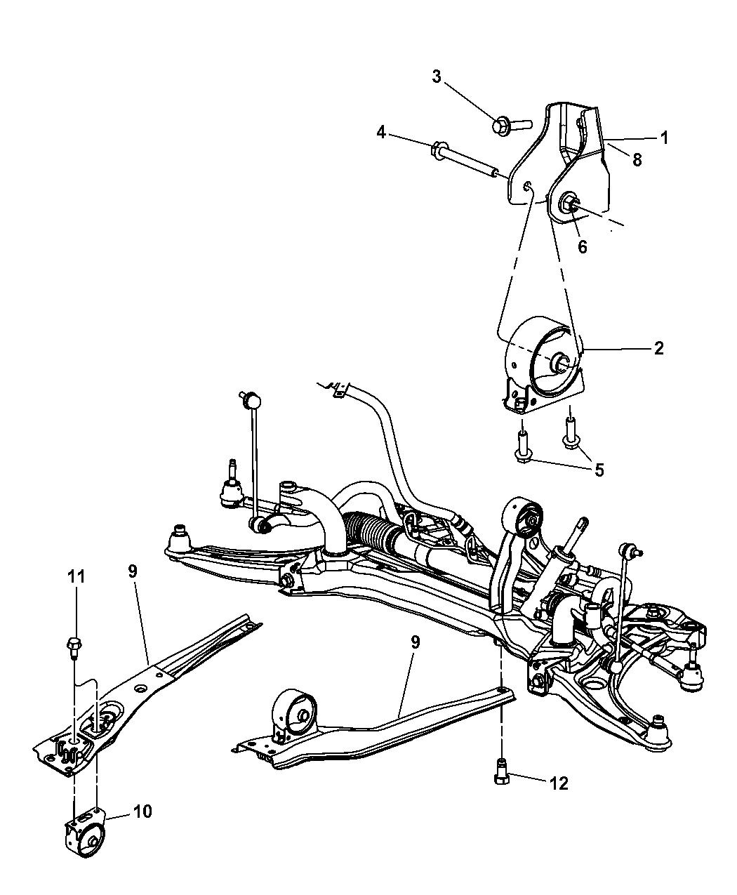 5105416ad Genuine Mopar Bracket Torque Reaction Jeep Patriot Engine Diagram 2007 Support Front