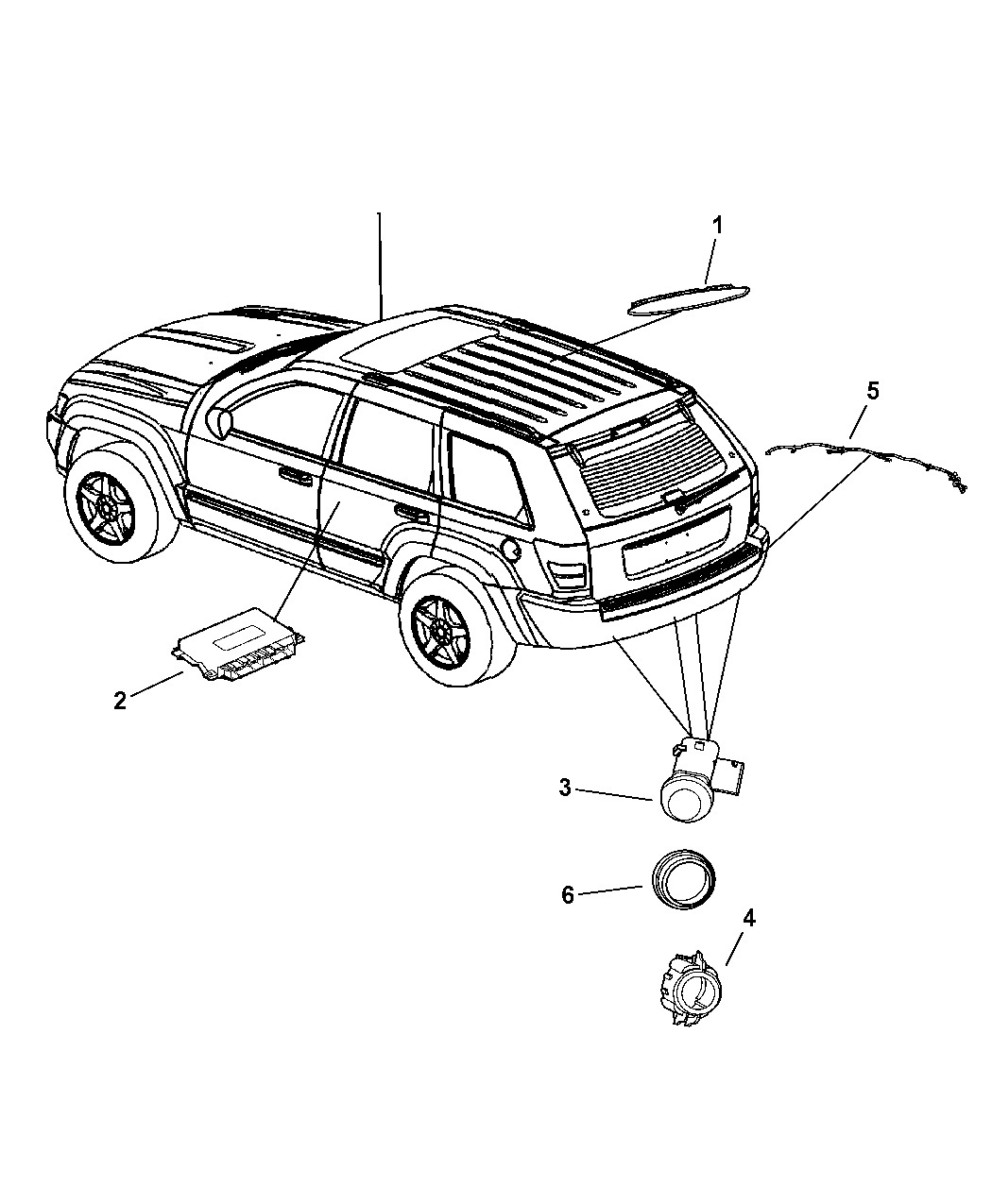 2005 jeep grand cherokee park assist detection system