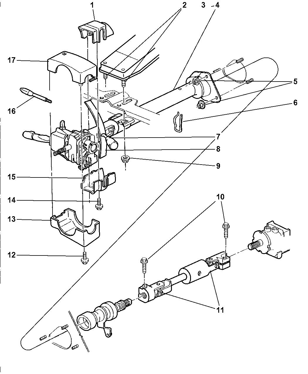 1997 dodge ram 3500 column, steering, upper and lower
