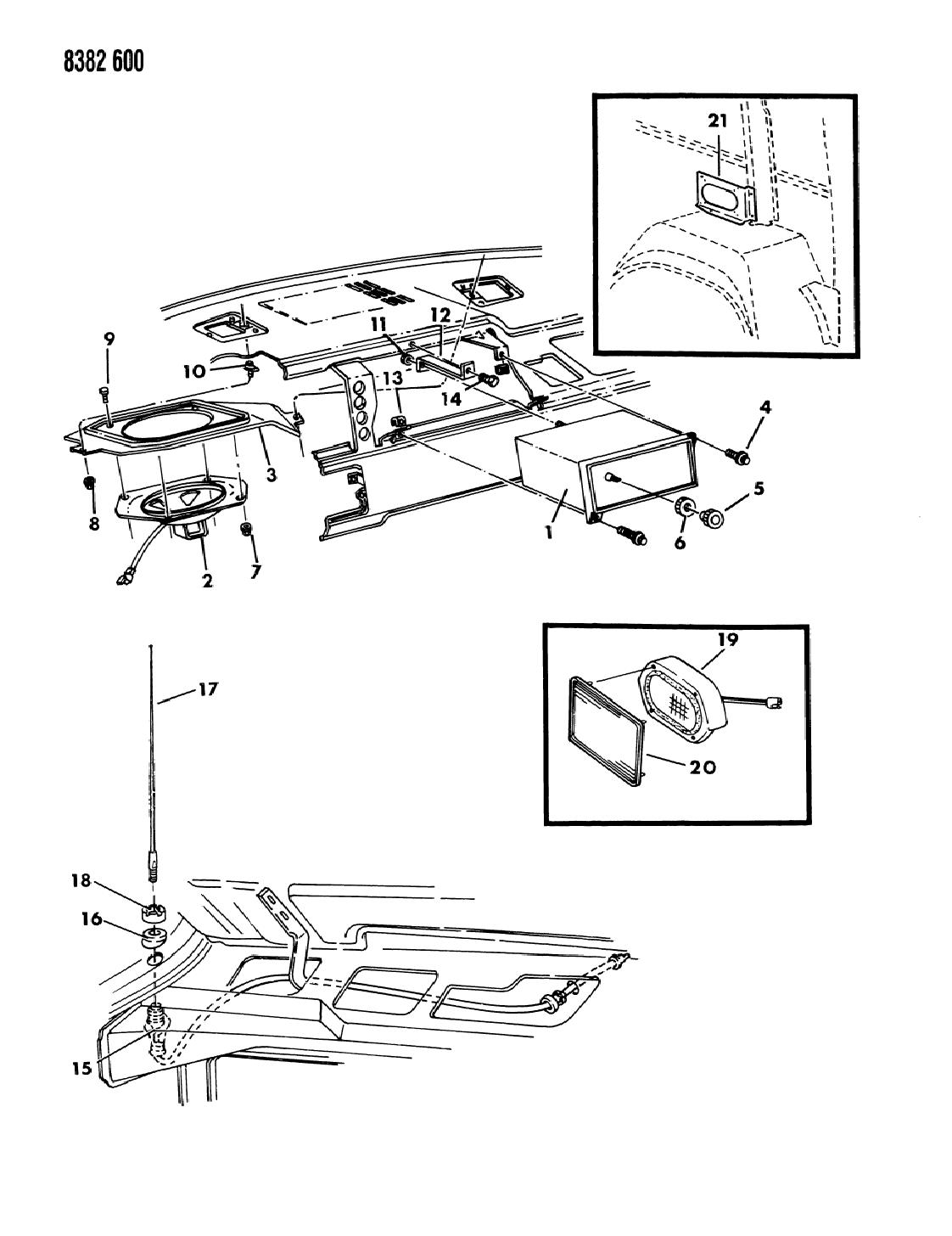 1988 Dodge Ram Van Instrument Panel Radio & Antenna