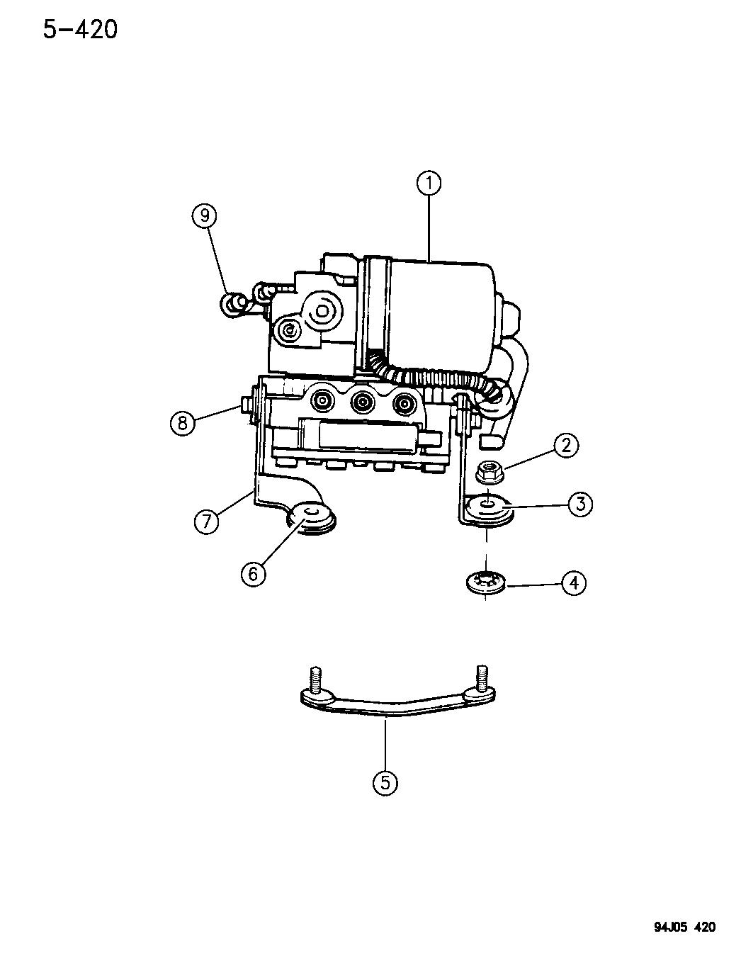 1996 Jeep Grand Cherokee Hydraulic Control Unit Anti-Lock