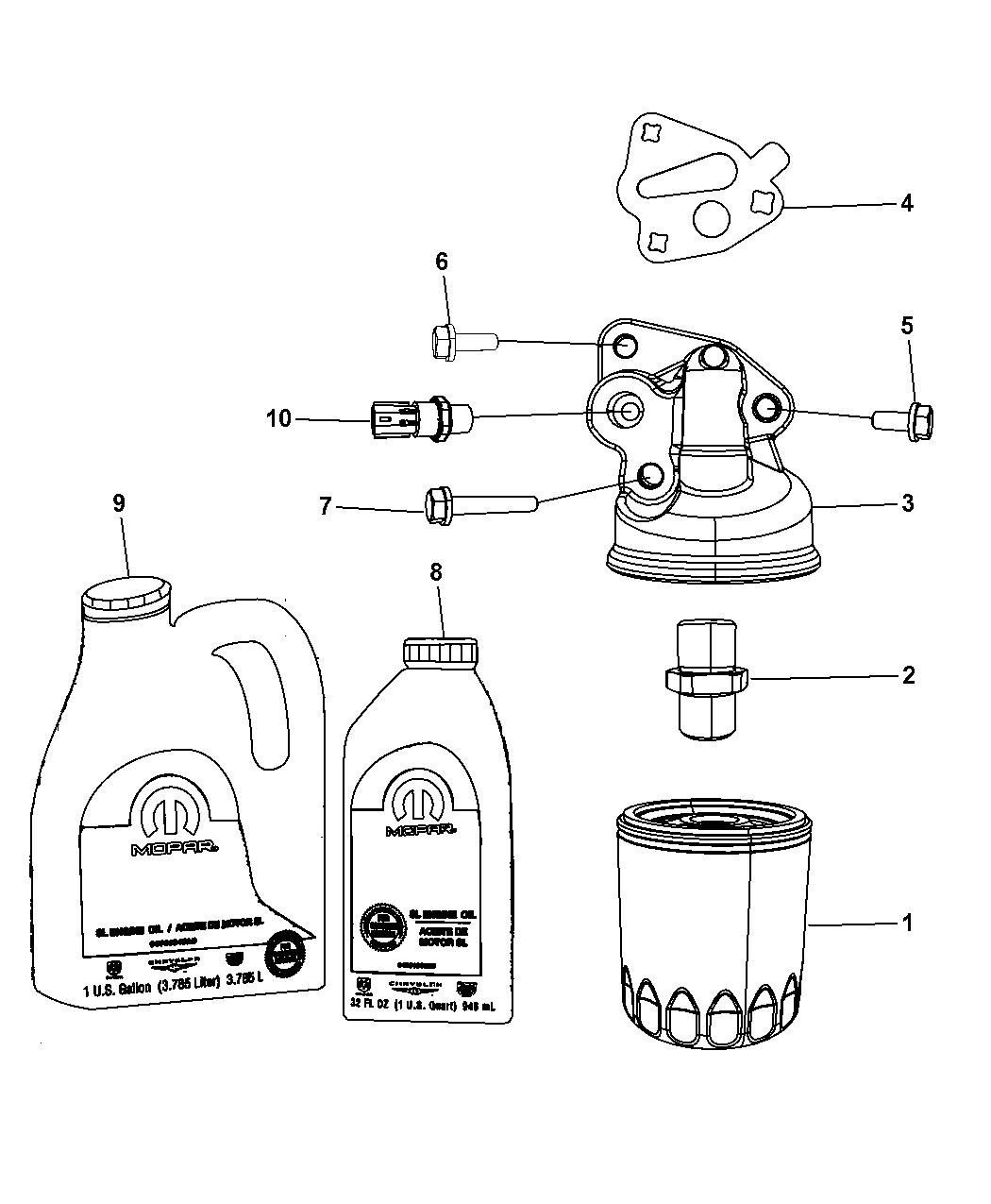 2009 Dodge Grand Caravan Engine Oil Engine Oil Filter Adapter