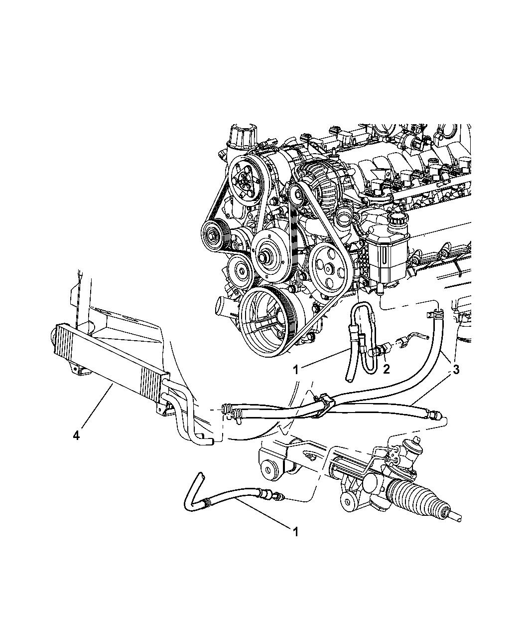 2002 Dodge Ram 1500 Power Steering Hoses - Mopar Parts Giant