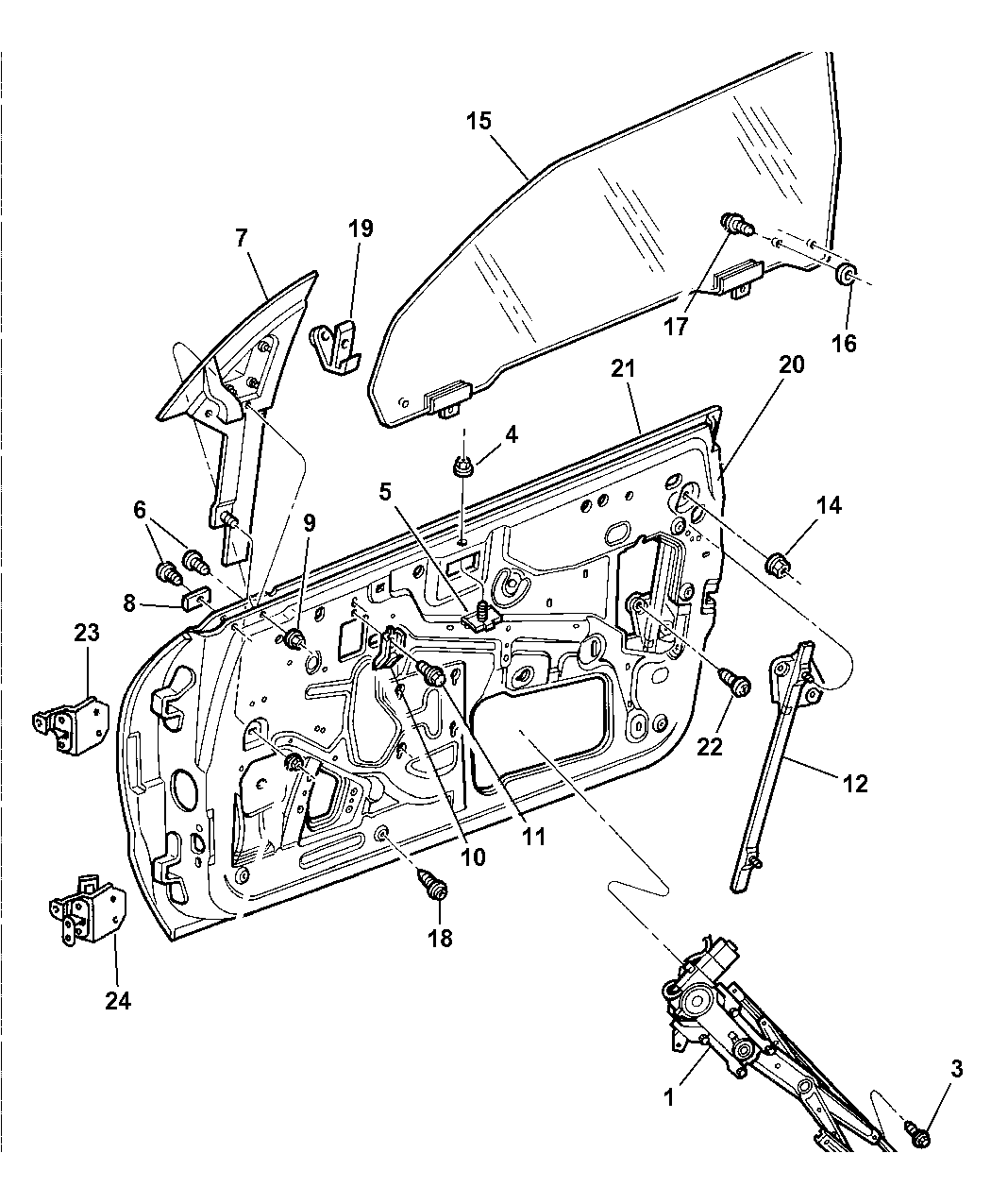1999 chrysler sebring window guide diagrams