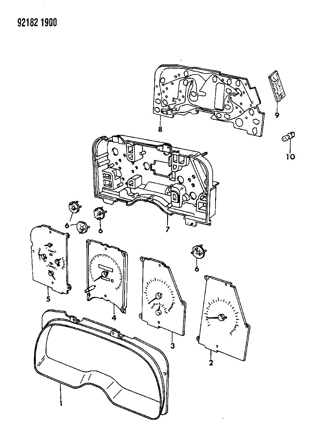 1992 Dodge Daytona Instrument Panel Cluster
