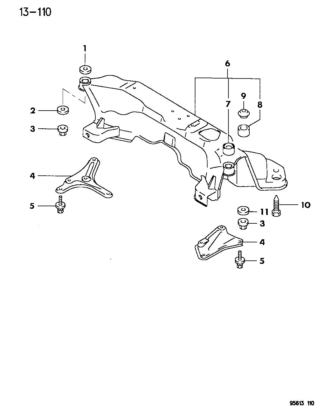 1995 Dodge Avenger Frame Front Mopar Parts Giant Engine Diagram