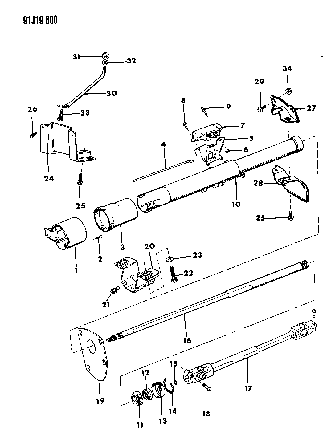 1992 Jeep Wrangler Housing - Steering Column Lower - Thumbnail 1