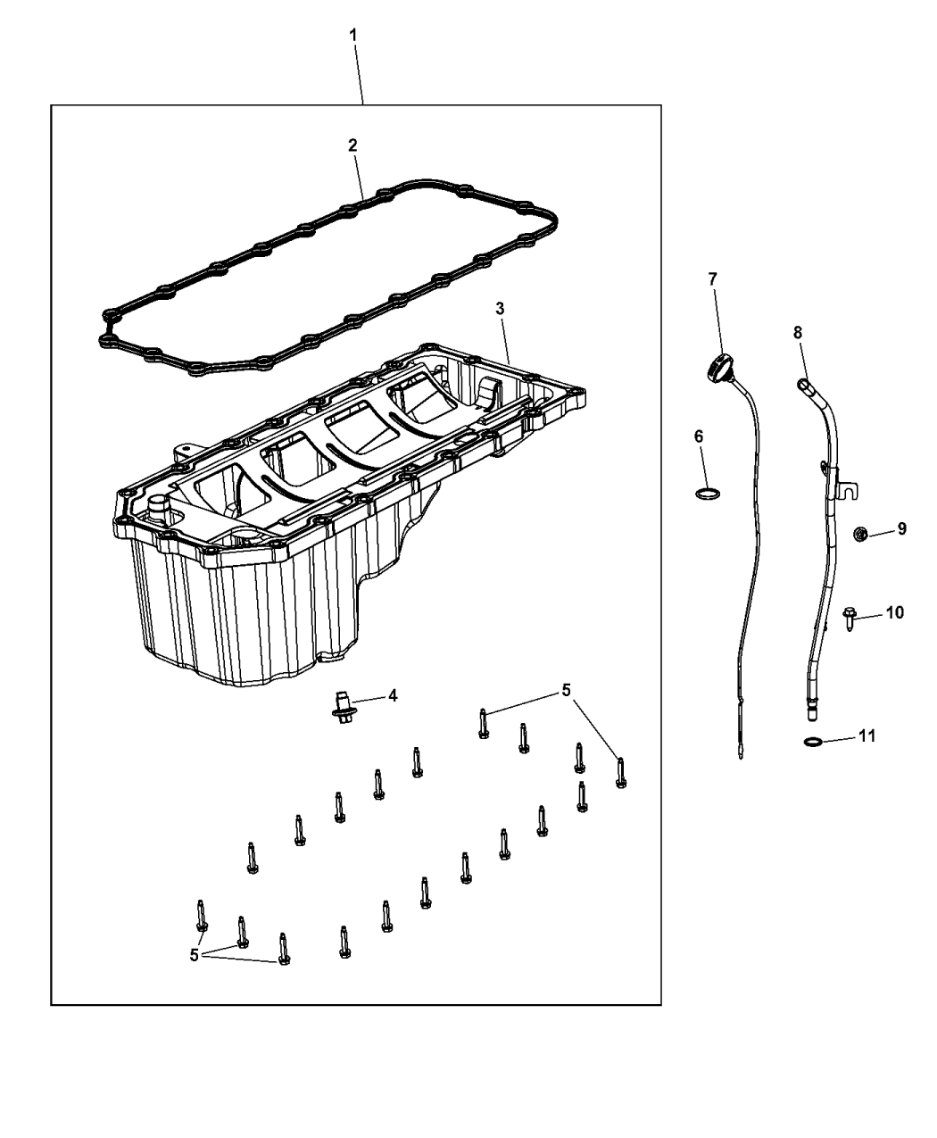 53034185ad Genuine Mopar Tube Engine Oil Indicator 2014 Jeep Diagram Grand Cherokee Pan Level Related Parts