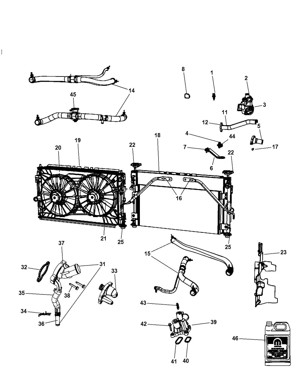 2007 chrysler sebring radiator & related parts