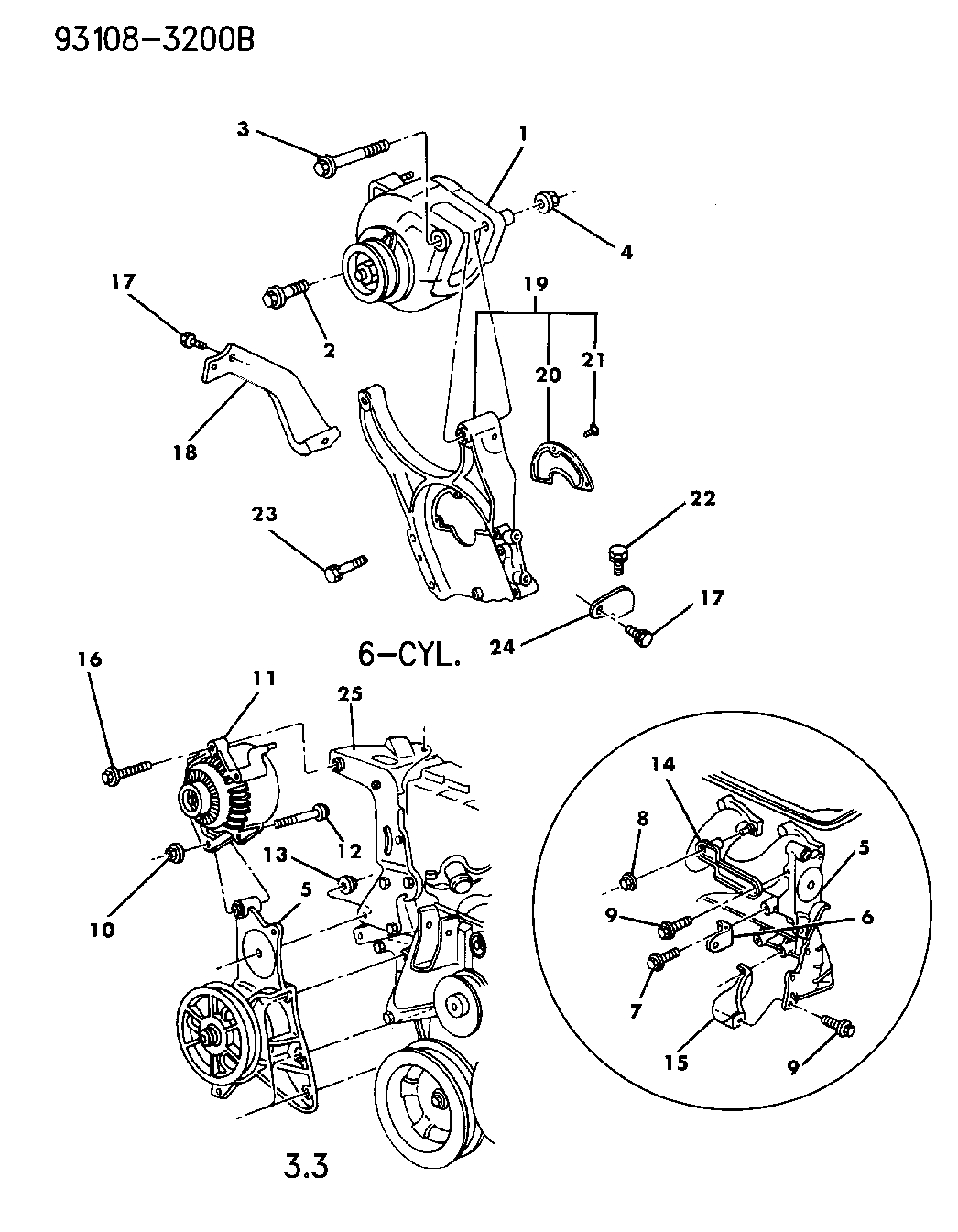 1993 Dodge Spirit Alternator Mounting Mopar Parts Giant Wiring Diagram Thumbnail 2