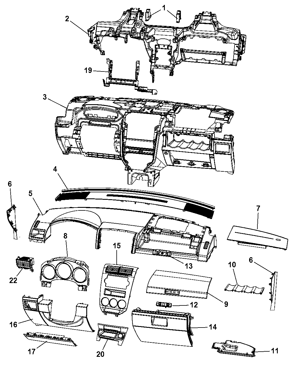 2010 dodge caliber instrument panel of interior trim