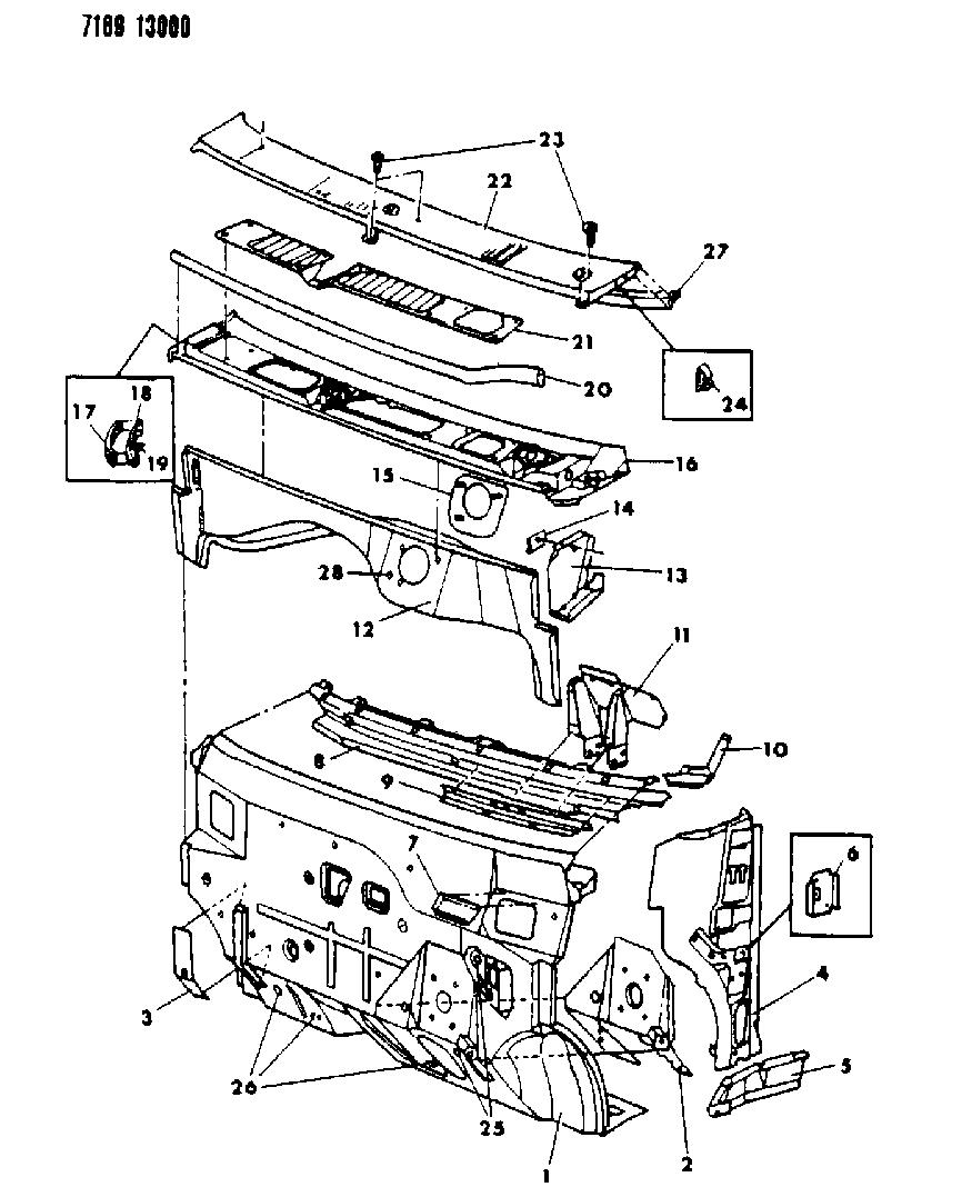1987 Dodge Caravan Cowl Dash Panel Mopar Parts Giant Wire Diagrams