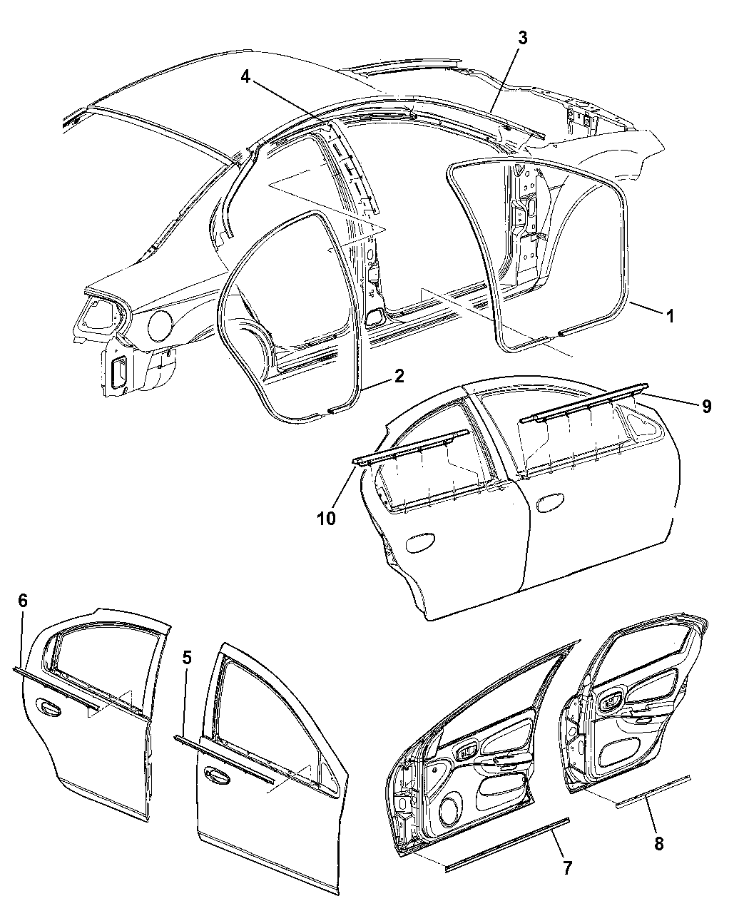 srt4 belt diagram 2005 dodge neon door  front   rear weatherstrips   seal  2005 dodge neon door  front   rear