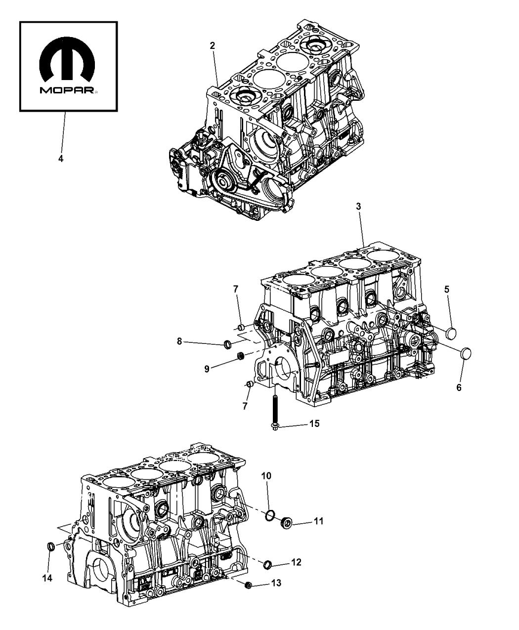 2008 jeep wrangler engine cylinder block & hardware - thumbnail 1