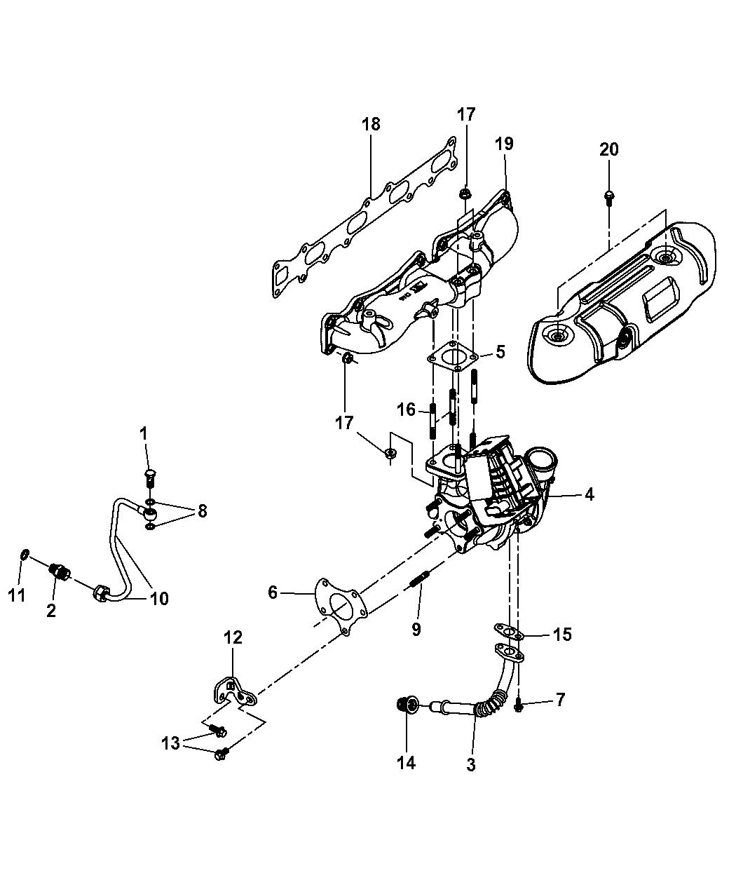 2011 Jeep Wrangler Turbo Charger Oil Hoses Tubes Engine Diagram