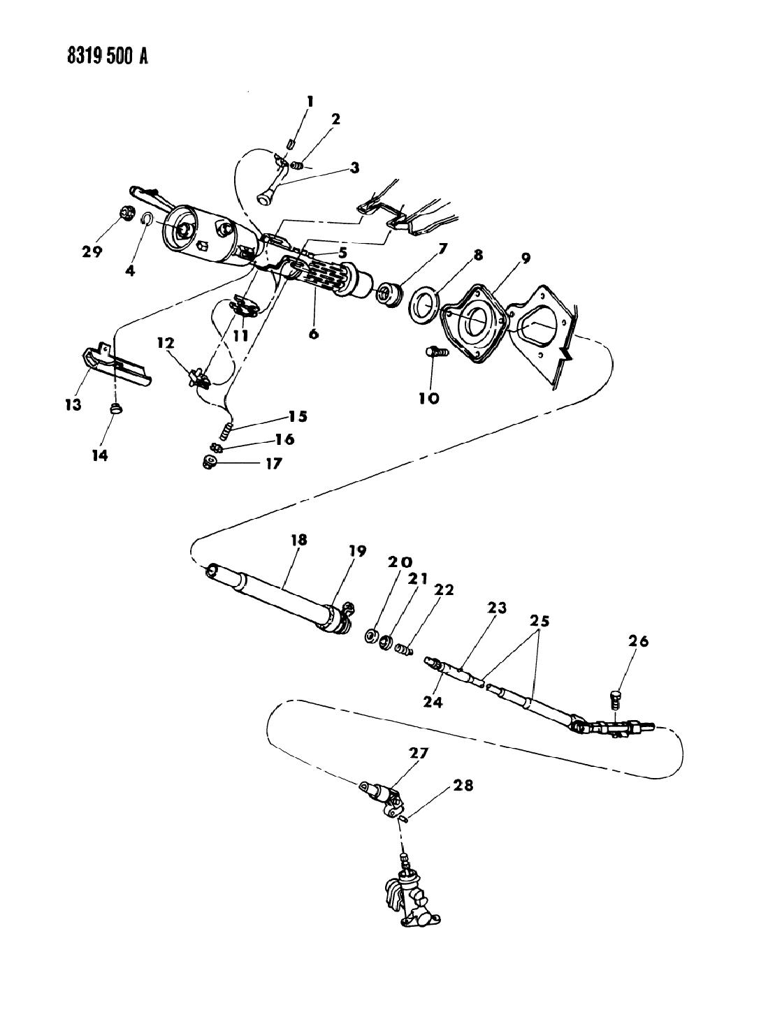 1989 dodge dakota column, steering without tilt lower1989 Dodge Dakota Steering Column Diagram #7