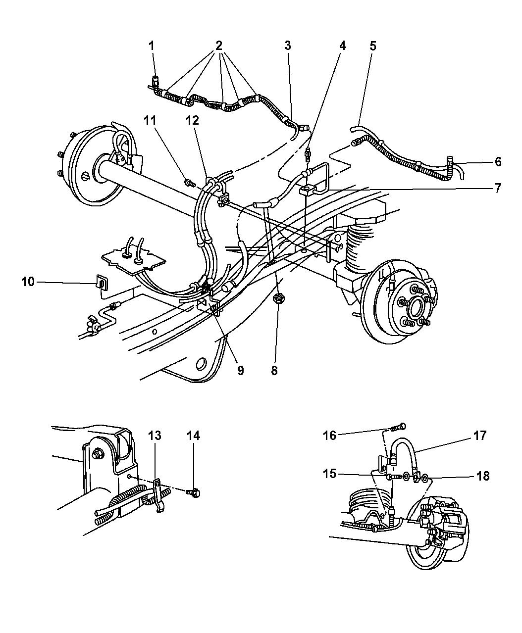 1998 Jeep Grand Cherokee Brake Lines & Hoses, Rear