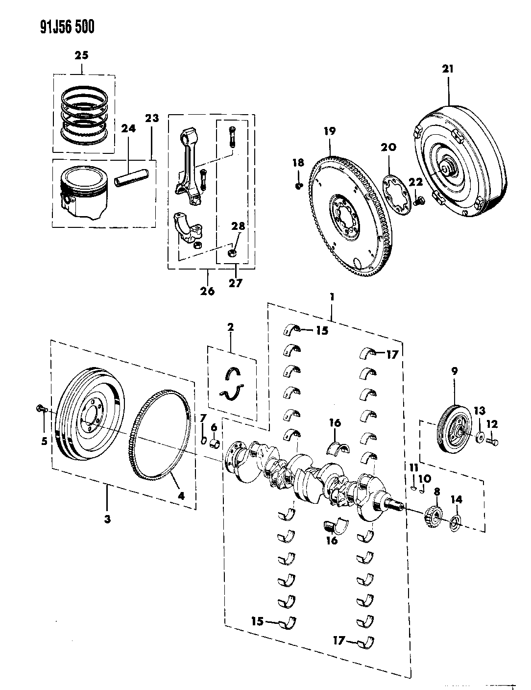 1991 Jeep Wrangler Engine Diagram Crankshaft Pistons And Torque Converter