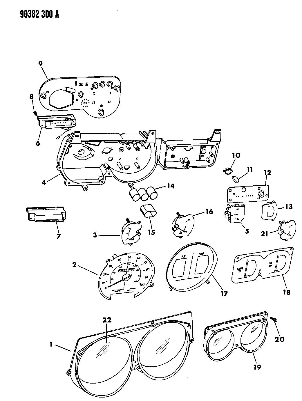 1991 dodge ram van instrument panel cluster