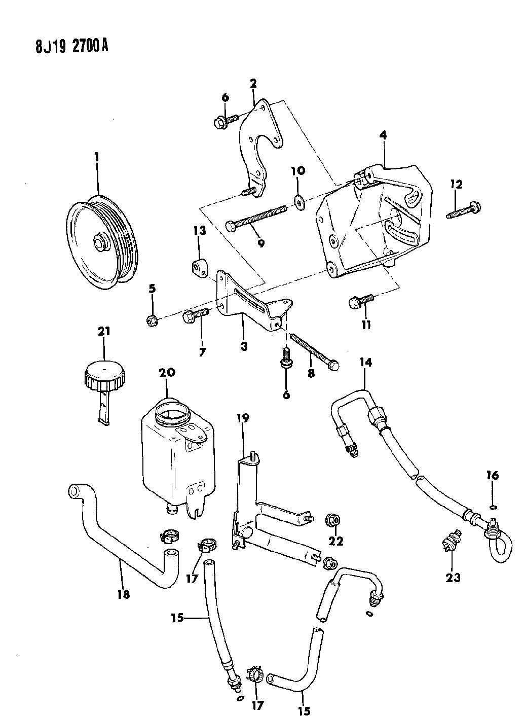 1988 jeep cherokee fuel line diagram 1988 jeep comanche pump mounting power steering  1988 jeep comanche pump mounting