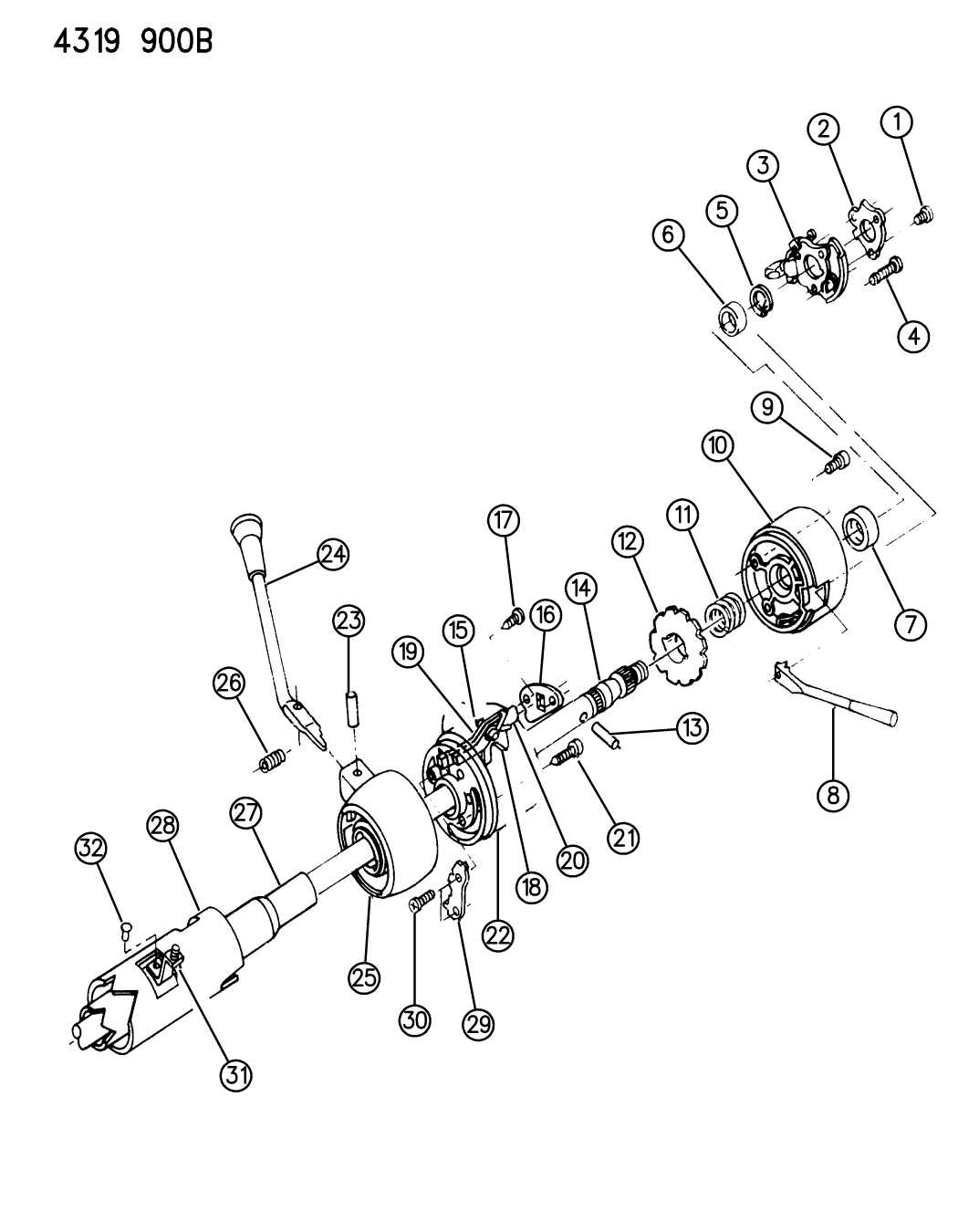 1985 dodge w250 column  steering  upper without tilt