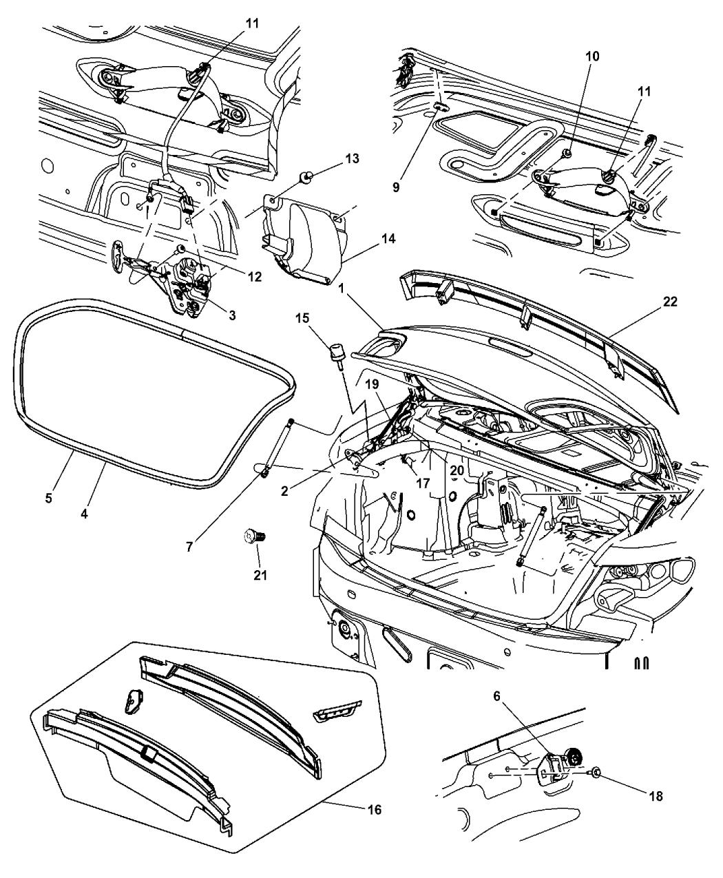 2010 Chrysler Sebring Deck Lid & Related Parts