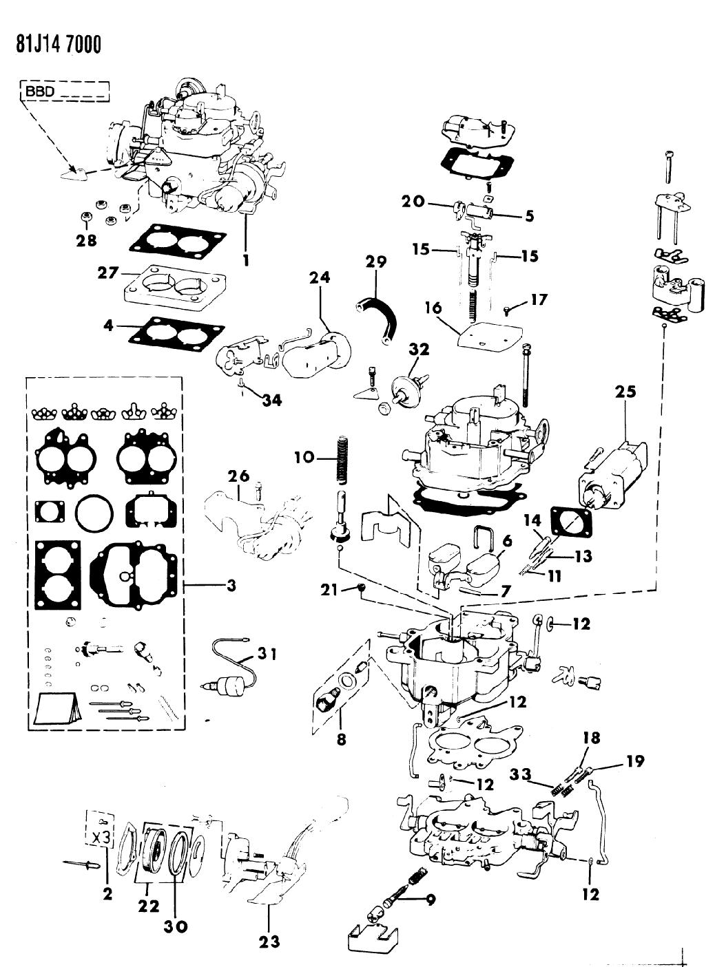 1985 jeep grand wagoneer carburetor & component parts - thumbnail 1