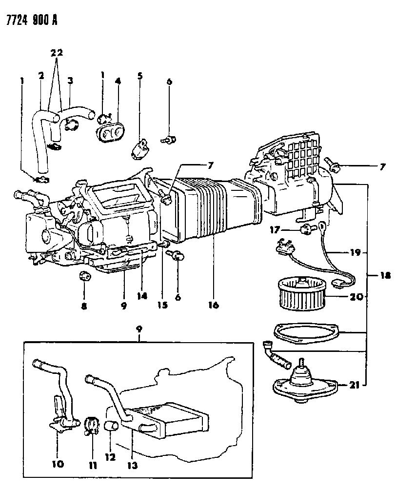 1987 Dodge Raider Heater Unit & Heater Plumbing