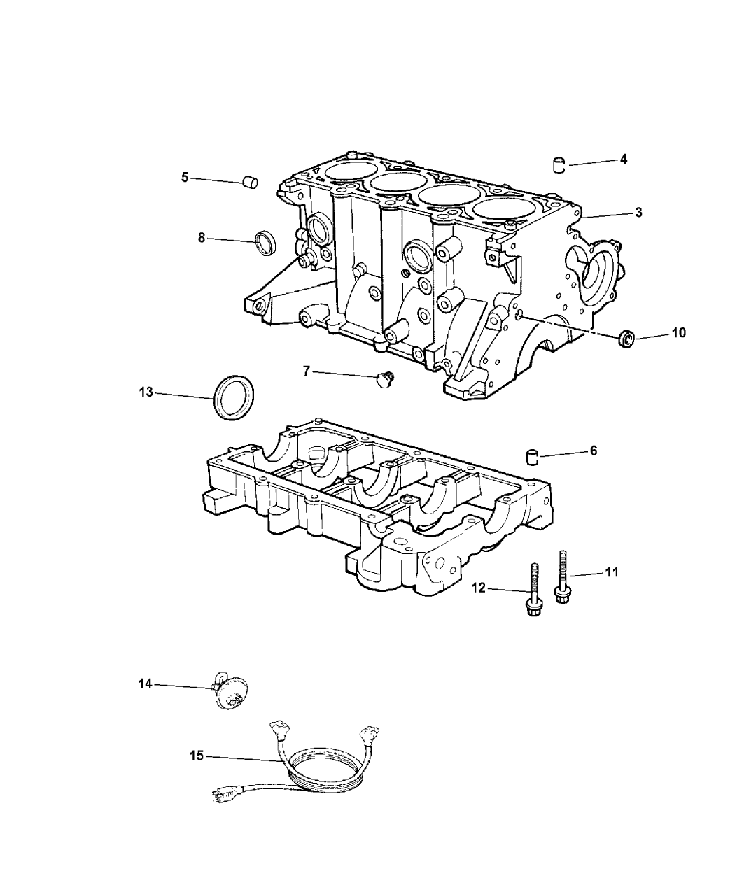 2003 Chrysler PT Cruiser Cylinder Block & Related Parts