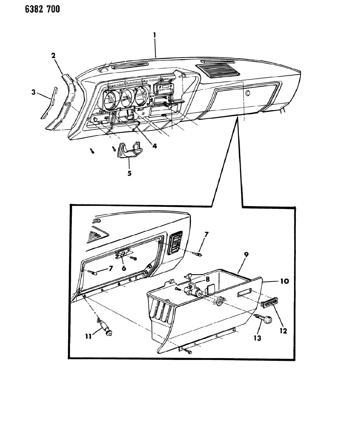 1987 dodge w250 instrument panel panel  u0026 glovebox