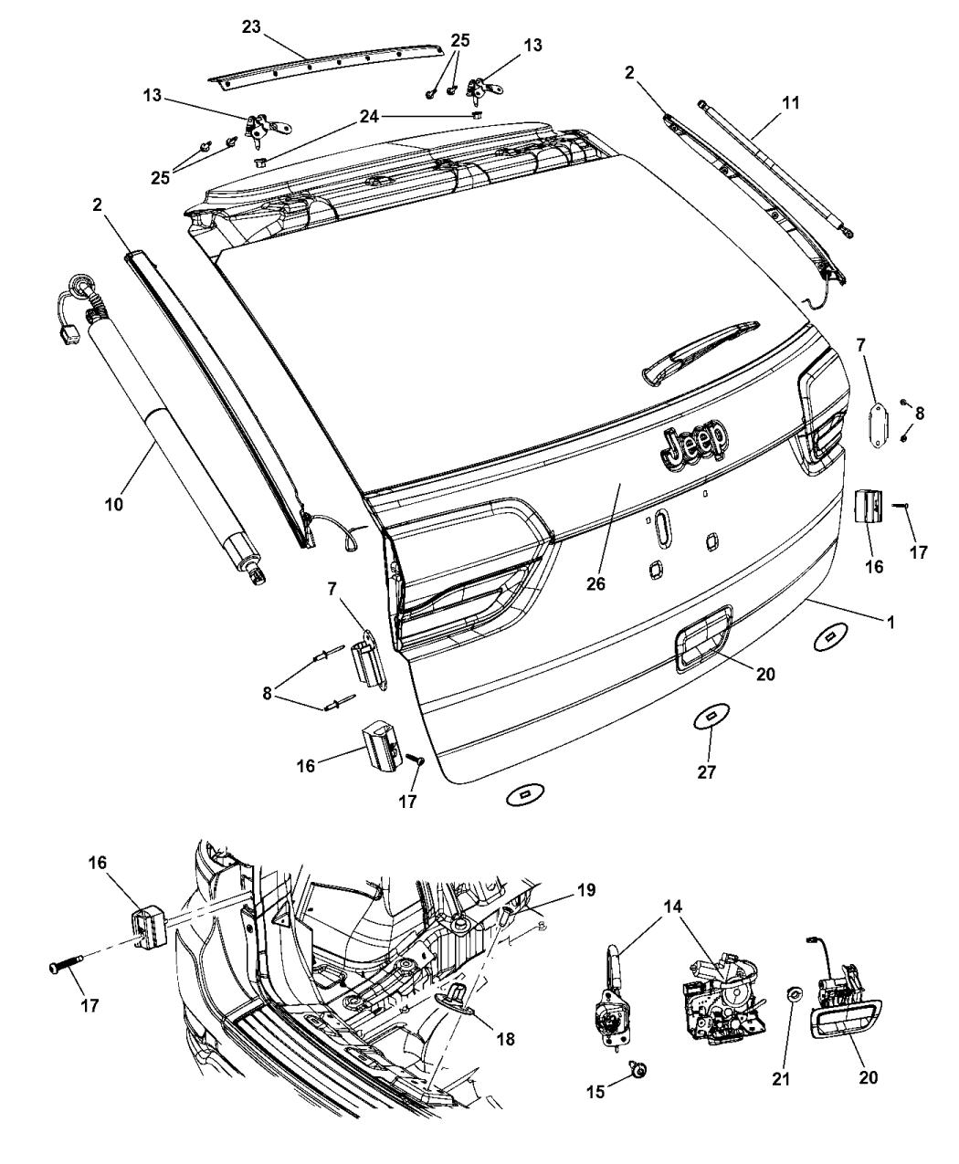 1YK38KARAE - Genuine Jeep HANDLE-LIFTGATE