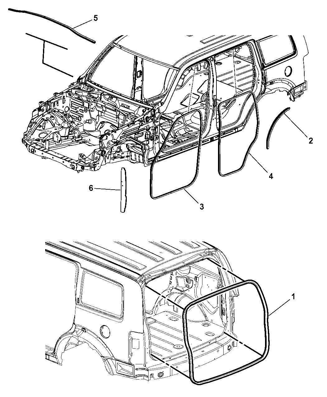 2009 Jeep Liberty Body Weatherstrips & Seals - Mopar Parts ...