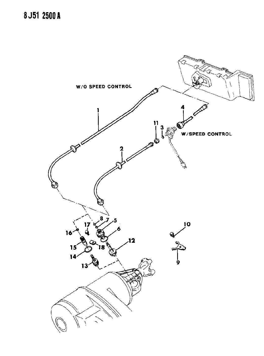 1989 Jeep Comanche Cable, Speedometer & Pinion of