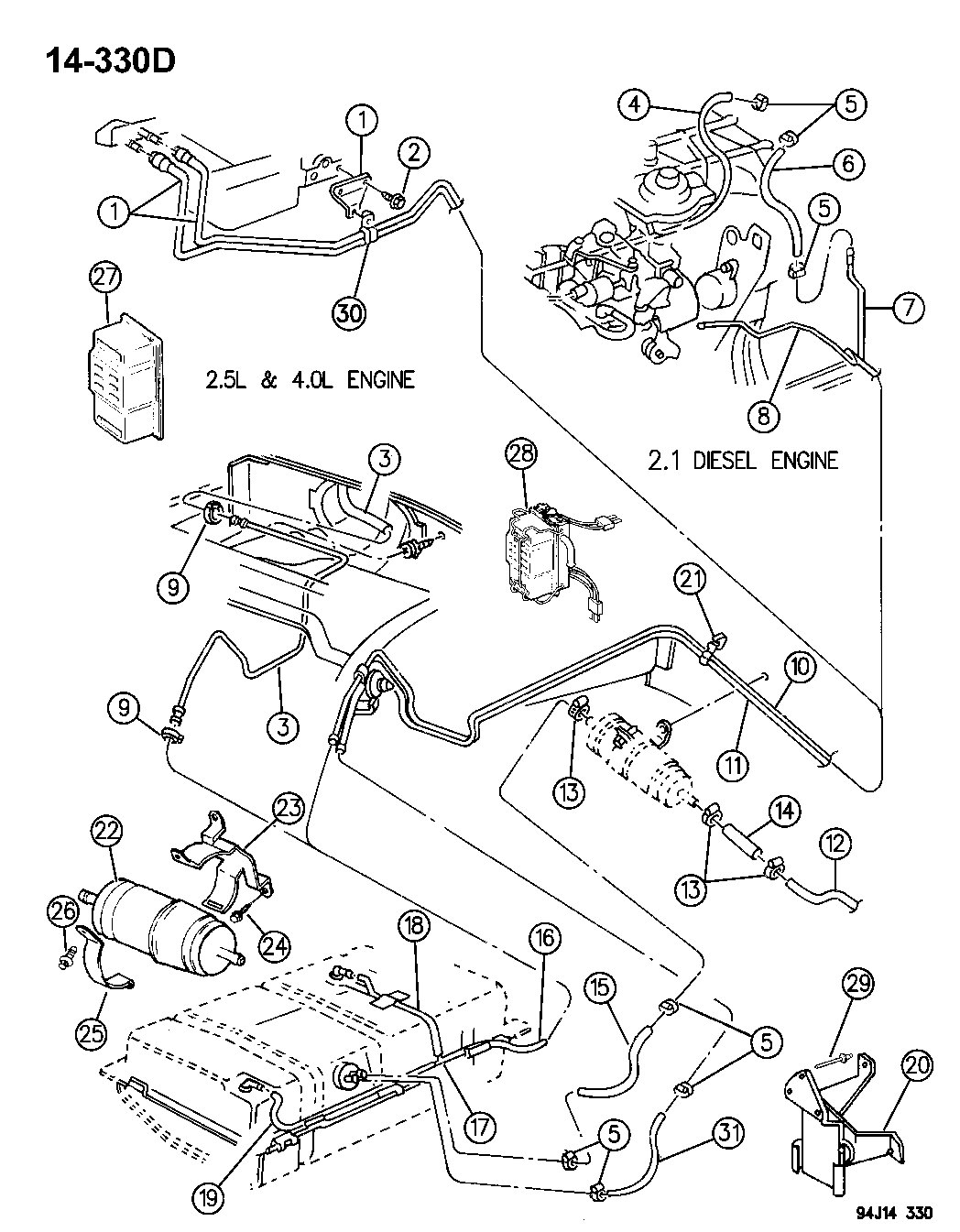 1994 jeep cherokee fuel filter location