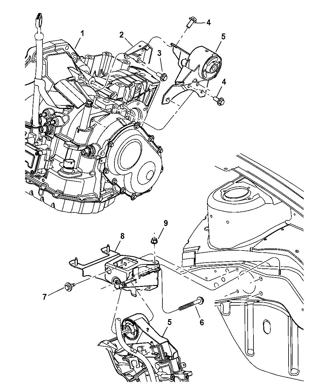 2005 dodge neon mount, transmission - thumbnail 1