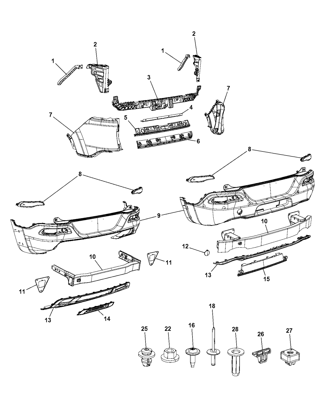 2014 jeep cherokee fascia  rear