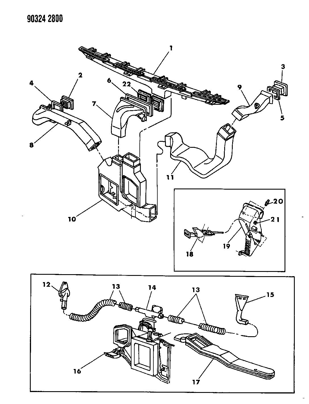 1993 Dodge Dakota Air Ducts  Outlets  U0026 Demister System